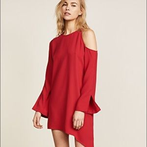 NWT IRO Awati Red Crepe Cutout Cold Shoulder Dress